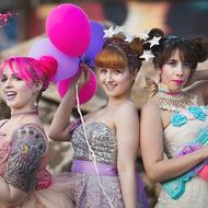 Photo by Eric France; models: Sarah Hoover, Victoria Rae, Betsabe Fregoso Lee; hair by Twisted Sisters Event Styling Makeup by Terran Ward ; Clothing design by Amanda Rose of Amanda Rose Studios